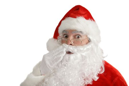 st  nick: Traditional Christmas Santa Claus looking very shocked. Isolated on white