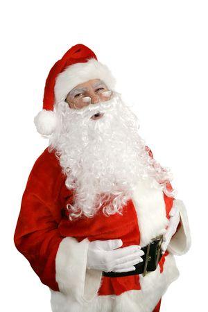 weihnachtsmann lustig: Traditioneller Weihnachtsmann, der ein grosses gibt