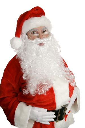 st  nick: Traditional Christmas Santa Clause looking surprised.  Isolated on white. Stock Photo