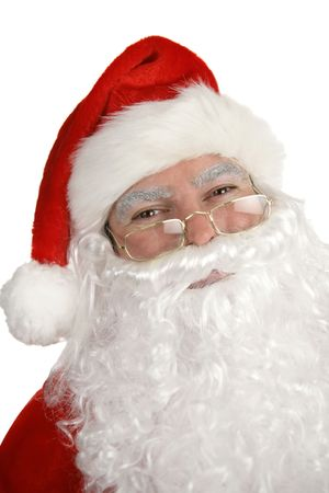 st  nick: A closeup portrait of a smiling, traditional Santa Clause, over white. Stock Photo