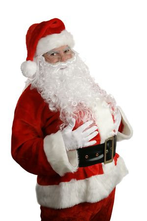 santa suit: A thee quarters view of a traditional santa claus smiling against a white background.