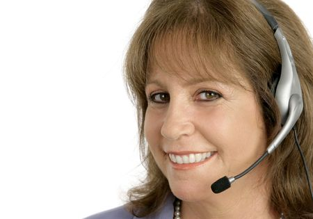 A friendly, pretty customer service representative is ready to help you. Stock Photo