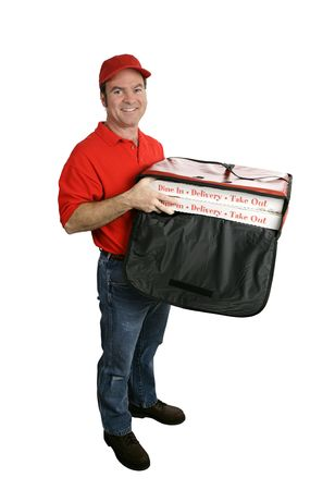 A friendly pizza delivery man holding a hot pizza delivery bag.  Full body view, isolated on white. photo