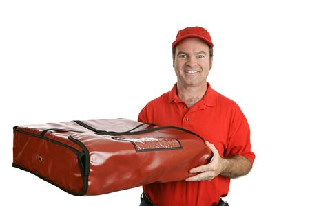 driver cap: A pizza delivery man carrying a thermal pizza delivery bag to hold in the heat.  Isolated on white.