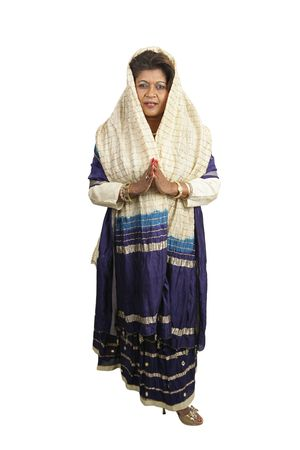 kurta: A beautiful Indian woman dressed in traditional clothing.  Full body isolated on white Stock Photo