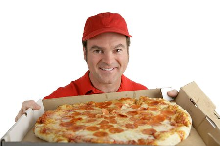 A pizza delivery man holding a delicious pepperoni pizza.  Isolated on White. photo