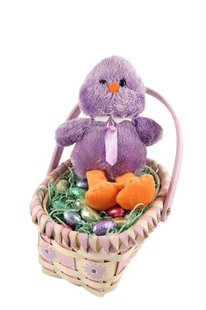 An adorable stuffed chickadee in an easter basket, surrounded by milk chocolate eggs.  Isolated on white. photo