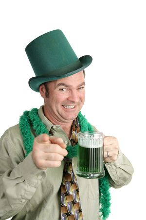 A drunk Irish American man at a St. Patricks Day Party.  Isolated on white.