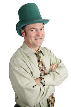 paddys: A handsome Irish American businessman dressed for St. Patricks Day.   Isolated on white.