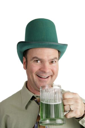 irish ethnicity: An Irish American man excited about his green beer on St. Patricks Day.  Isolated on white. Stock Photo