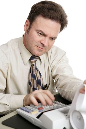 auditing: An accountant doing income taxes. Motion blur on his hand to show how fast he is working.  White background.