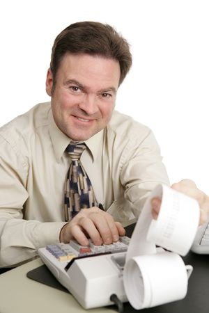 A friendly smiling accountant working on his adding machine.  Isolated on white. Stock Photo - 761904