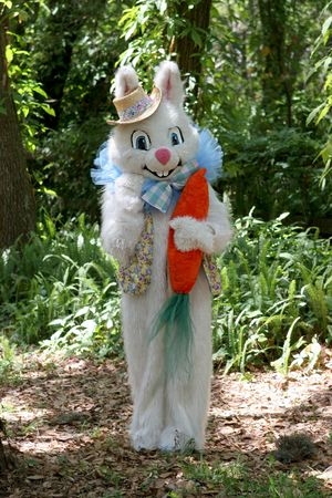 A full body portrait of the Easter Bunny in the woods.