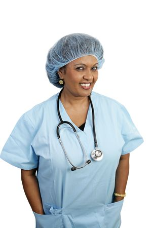 A friendly surgical nurse in scrubs and a hairnet. Stock Photo - 806094