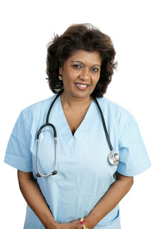 compassionate: A compassionate doctor or nurse in blue scrubs.  Isolated on white. Stock Photo