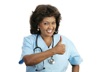 A doctor or nurse giving their patient the thumbs-up sign.  Everything is going to be okay!  Isolated on white. Stock Photo - 806100