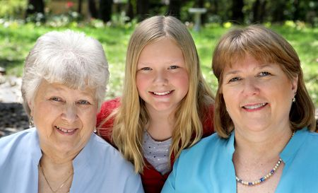 Three generation that look very much a like - a daughter, a mother, and a grandmother.   Stock Photo - 806182