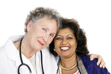 Closeup of a female doctor and patient showing their closeness and bond of trust.  Isolated on white. Stock Photo - 914521