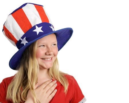 allegiance: A beautiful young girl dressed patriotically and saying the Pledge of Allegiance. White background with room for text.