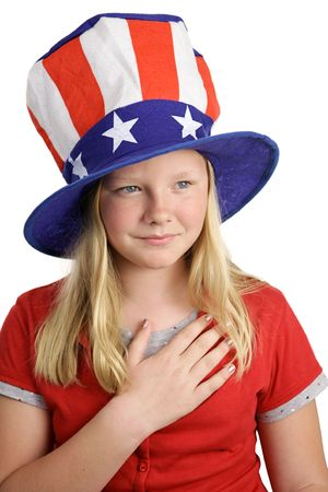 allegiance: A pretty young girl saying the pledge of allegiance on the fourth of july. White background.
