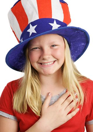 allegiance: A pretty American girl smiling and saying the Pledge of Allegiance. White background