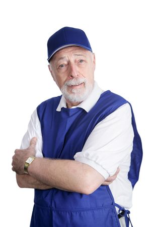 disbelief: A senior man dressed for work in a discount store with an expression of disbelief.  Isolated on white. Stock Photo