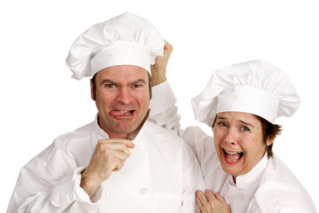 midlife: A tempermental chef threatening suicide because his recipe didnt turn out.  His female colleague is horrified.