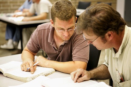 Two adult education students studying together in class. Stock Photo - 1718488