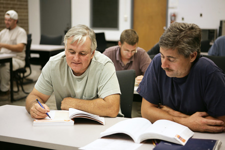 comprehension: A man in his fifties going back to school for career training.