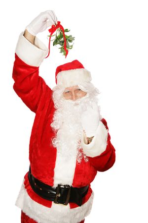 motioning: Traditional Santa Claus under the mistletoe motioning for you to come get a kiss.  Isolated on white.