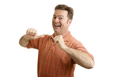 average guy: Average guy feeling proud and excited, pointing to himself with both thumbs.  Isolated on White.