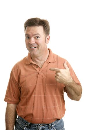 average guy: Average forty year old guy pointing to himself with a questioning look as if to say Who Me?  Isolated on white.