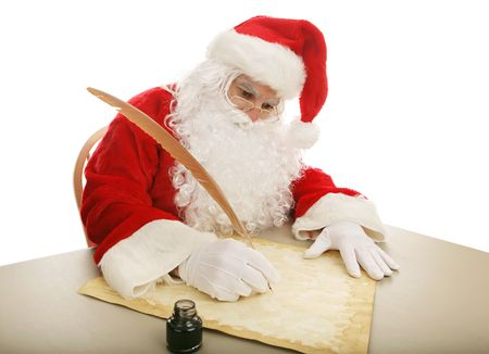 caligraphy: Santa sitting at his desk using a quill pen to make his naughty and nice list on parchment.  White background.