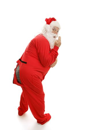 embarassment: Santa has just realized the trap door to his pajamas is open.  Full view isolated on white.