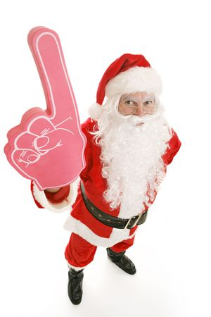 Santa Clause with a big rubber hand showing the number one.  Full body on white background. photo