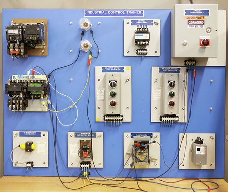 vocational: An industrial motor control training panel.  Used in adult and vocational education.   Stock Photo