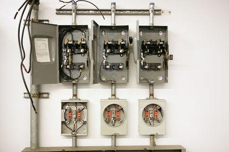 meter box: Industriales el�ctricos metros para romper el centro con varios paneles. Se trata de desmontar para ayudar a capacitar a los estudiantes de educaci�n profesional.