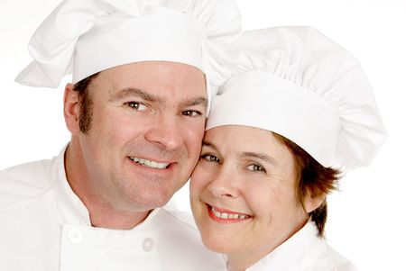 Closeup portrait of a male and female chef.  White background.   Stock Photo - 2236541