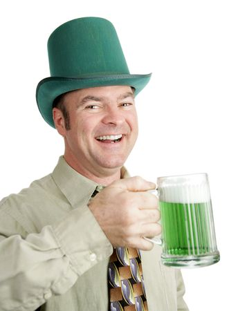 Man of Irish heritage enjoying a green beer on St. Patricks Day and singing a drinking song.  Isolated on white. photo
