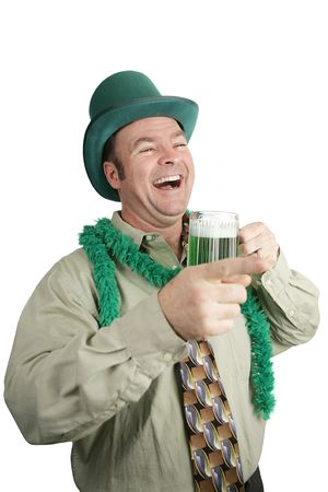 Drunk man on St. Patricks Day laughing and pointing.  Isolated on white. photo