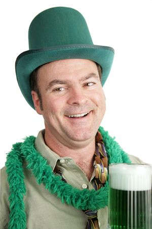 Portrait of a drunk man celebrating St. Patricks Day.  White background. photo