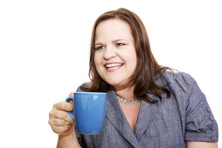 plus sized: Pretty plus sized businesswoman having coffee and talking with a friend off camera.  Isolated on white.
