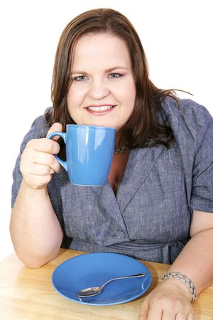 Pretty plus-sized businesswoman on a coffee break.  White background