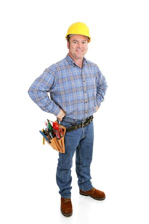 journeyman technician: Authentic construction worker dressed for the job.  Full body isolated on white.