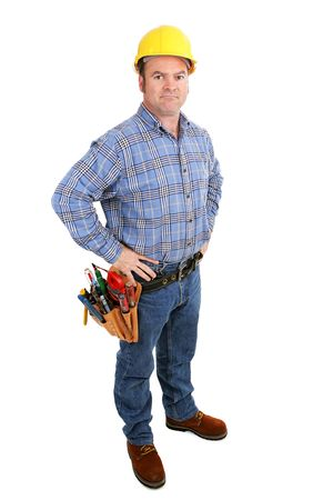 journeyman technician: Authentic construction worker with serious expression.  Full body isolated on white.   Stock Photo