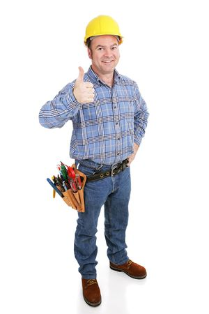 journeyman: Authentic construction worker giving a thumbs-up sign.  Model actually works in construction trade.  Full body isolated on white.   Stock Photo