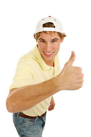 Casual college age man giving an enthusiastic thumbs-up sign.  Isolated on white.