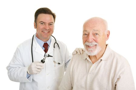 Happy doctor and patient.  There is an obvious bond of trust between them.  Isolated on white.   Stock Photo - 2576473