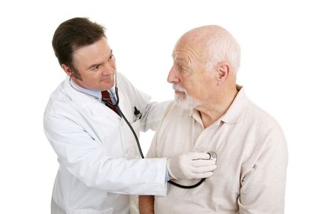 listening to heartbeat: Senior man being examined by a doctor.  Hes asking the if he will be okay and the physician is reassuring him.  Isolated on white.