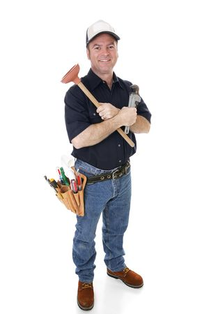 Friendly plumber with his tools.  Full body isolated on white.